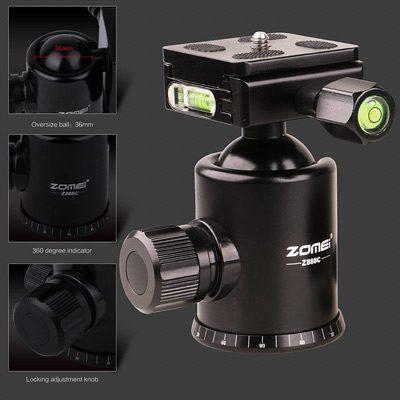 سه پایه مونوپاد دار زومی Zomei Z818C Carbon Fiber Camera Tripod