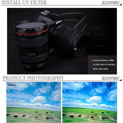 فیلتر لنز یووی زومی Zomei UV 62mm Filter
